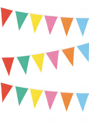 Multi Colour Plastic Bunting (20cm-30cm) (33ft in length)