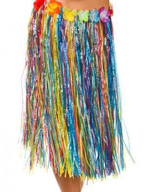 Hawaiian Short Multi Coloured Grass Skirt with Flowers