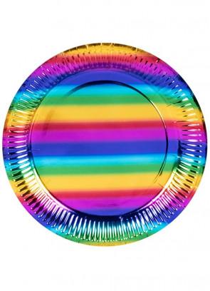 Rainbow Metallic Paper Plates 23cm - 6pk