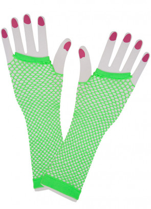 80s Fishnet Gloves (Neon Green)