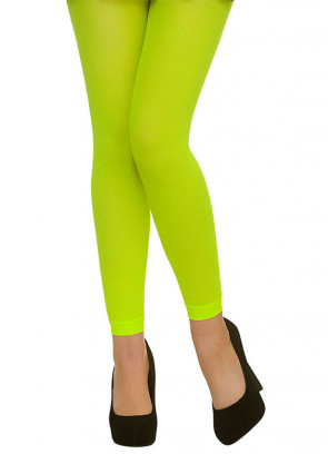 Neon Green Footless Tights - Dress Size 6-14