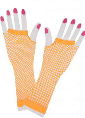 80s Fishnet Gloves (Neon Orange)