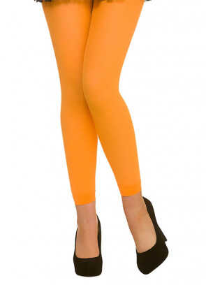 Neon Orange Footless Tights - Dress Size 6-14