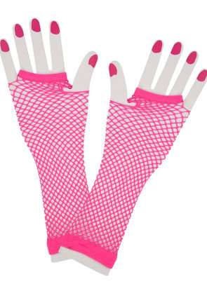 80s Fishnet Gloves (Neon Pink)