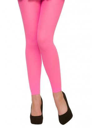 Neon Pink Footless Tights - Dress Size 6-14
