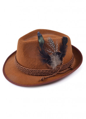Traditional Bavarian Oktoberfest Felt Hat - Brown