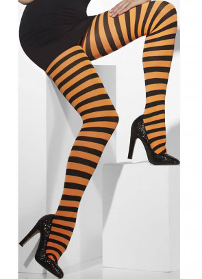 Black & Orange Striped Tights - Dress Size 6-18