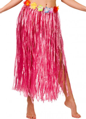 "Hawaiian Long Pink Grass Skirt with Flowers - will fit up to waist size 40"" or 102cm"