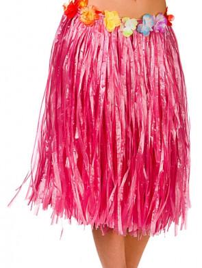 Hawaiian Short Pink Grass Skirt with Flowers