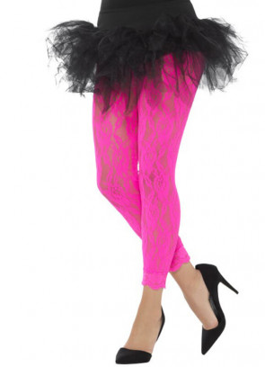 80's Lace Footless Tights, Neon Pink