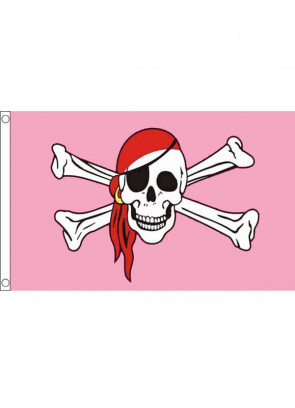 Pink Pirate Skull and Crossbones Flag