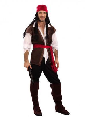 Pirate Man Costume - Brown Waistcoat