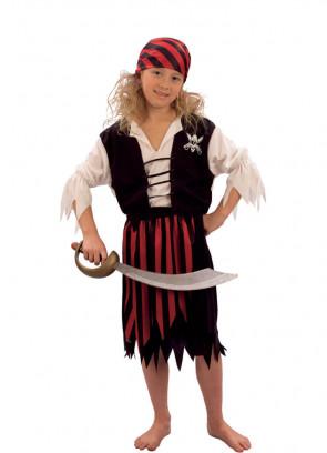 Pirate Girl (Black Waistcoat)  (Girls) Costume