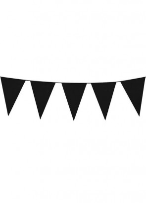 Large Black Triangular Plastic Bunting 10m