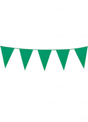 Large Green Triangular Plastic Bunting 10m
