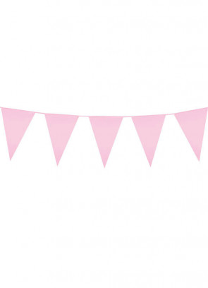 Large Light Pink Triangular Plastic Bunting 10m