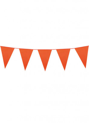 Large Orange Triangular Plastic Bunting 10m