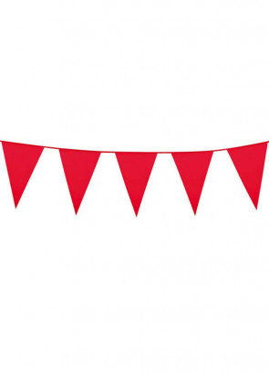 Large Red Triangular Plastic Bunting 10m
