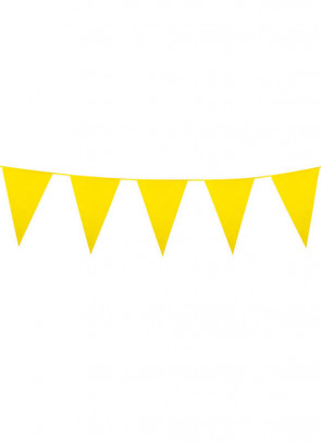 Large Yellow Triangular Plastic Bunting 10m