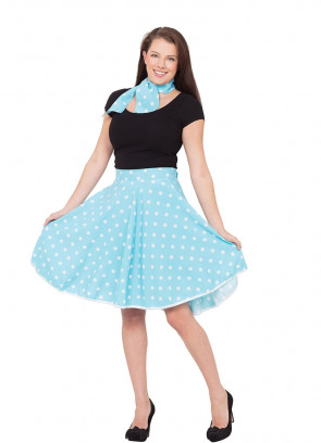 1950s Rock and Roll Polkadot Skirt (Blue)