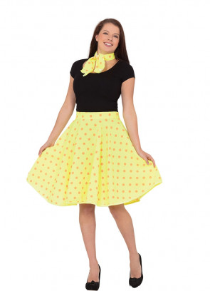 1950s Rock and Roll Polkadot Skirt (Yellow)
