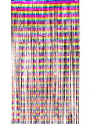 Rainbow Metallic Foil Curtain 6.6ft x 3ft