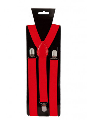 Red Trouser Braces / Suspenders