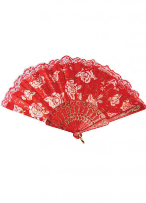 Red Lace Fan (White Roses)