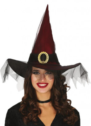 Red Satin Witch Hat with Black Netting - Childs