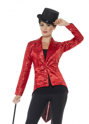 Sequin Tailcoat - Red - Ladies