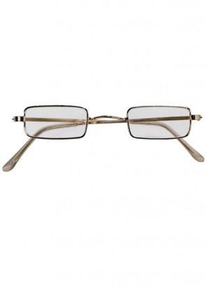 Rectangular Gold Rim Santa Glasses