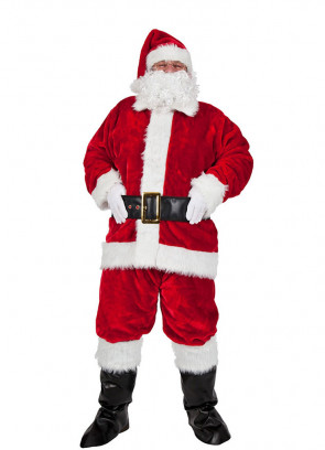 Plush Santa Suit Costume (8pcs) XL