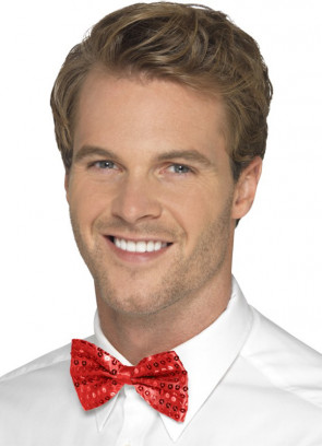 Sequin Bow-Tie - Red