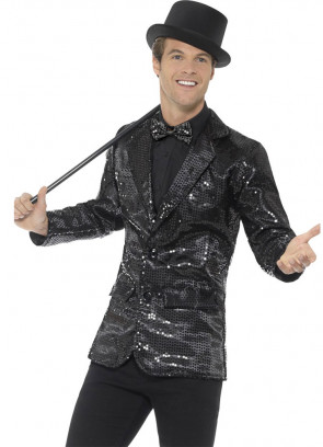 Sequin Jacket - Black - Male