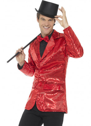 Sequin Jacket - Red - Male