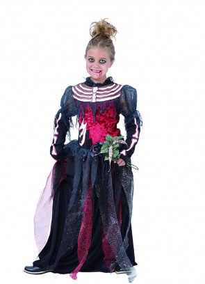 Girls Skeleton Bride Black - Girls Costume