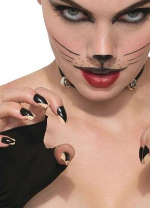 Black Cat Fake Nails