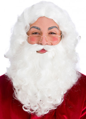 White Santa Beard and Wig with Glasses