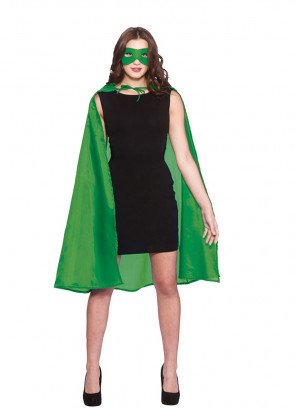 Superhero Cape and Mask (Green) (Adult)