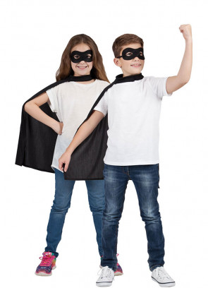 Superhero Mask & Cape Black (Kids)
