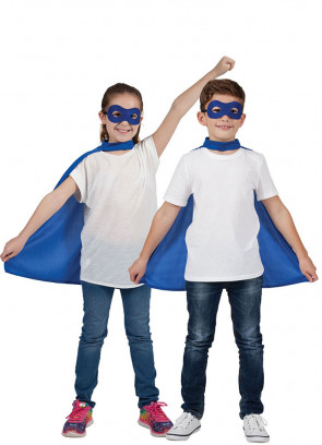 Superhero Mask & Cape Blue
