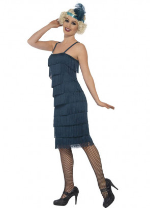 Teal Fringe Flapper Costume