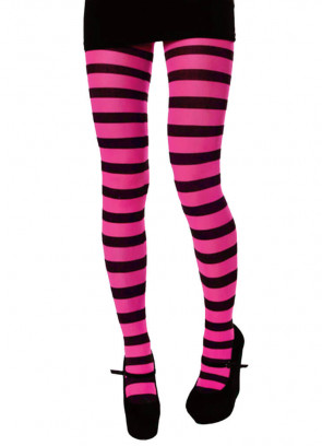 Tights (Pink & Black Striped)