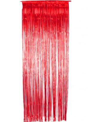 Tinsel Slash Curtain (Red) 3ft x 9ft