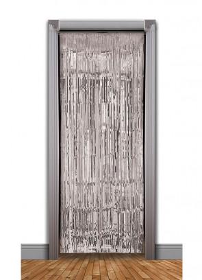 Tinsel Slash Curtain (Silver) 3ft x 7.9ft
