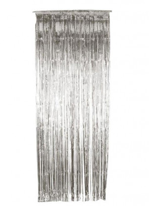 Tinsel Slash/Shimmer Curtain - Silver 3ft x 9ft