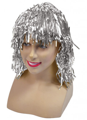 Silver Tinsel Wig