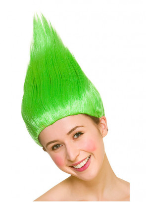 Troll Wig Green - Up-combed Hair