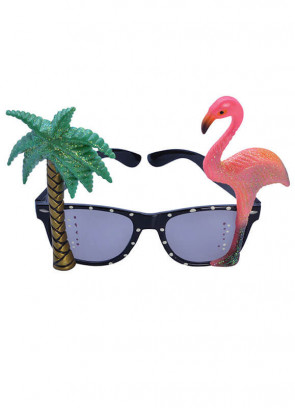 Glitter Plam Tree & Flamingo Tropical Sun Glasses