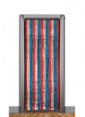 USA Tinsel Slash Curtain (Red, Silver, Blue) 3ft x 7.9ft